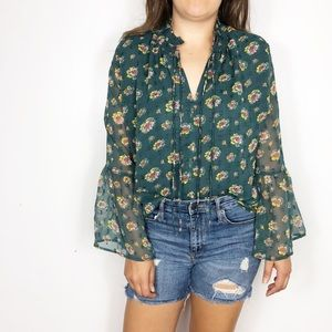 LOFT Green Floral Long Sleeved Bell Sleeve Blouse